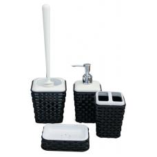 Комплект за баня ратан - 4 части - черно/бял
